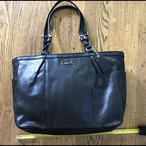 Black soft leather tote